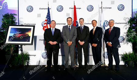 Andy Berke, Hinrich Woebcken, Jim Coppinger, Bill Haslam, Antonio Pinto. From left, Mayor Andy Berke, Hinrich Woebcken, Mayor Jim Coppinger, Tennessee governor, Bill Haslam and Antonio Pinto are seen at an announcement of the new 5-seat Atlas SUV at Volkswagen Chattanooga on in Chattanooga, Tenn
