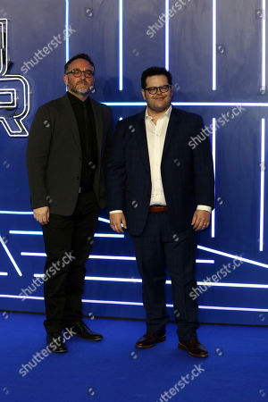 Colin Trevorrow, Josh Gad. Film Director Colin Trevorrow and Josh Gad pose for photographers on arrival at the Premiere of the film 'Ready Player One' in London