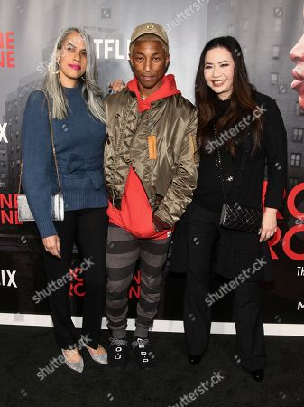 "Mimi Valdes, Pharrell Williams, Nina Yang Bongiovi. Mimi Valdes, from left, Pharrell Williams and Nina Yang Bongiovi attend the premiere of Netflix's ""Roxanne Roxanne"" at SVA Theatre, in New York"