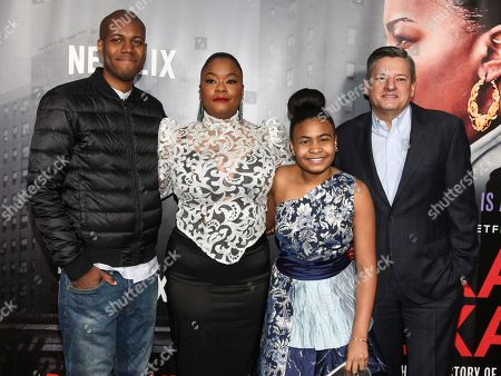 """Michael Larnell, Roxanne Shante, Taliyah Whitaker, Ted Sarandos. Michael Larnell, from left, Roxanne Shante, Taliyah Whitaker and Ted Sarandos attend the premiere of Netflix's """"Roxanne Roxanne"""" at SVA Theatre, in New York"""