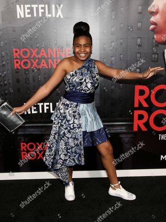 """Stock Image of Taliyah Whitaker attends the premiere of Netflix's """"Roxanne Roxanne"""" at SVA Theatre, in New York"""
