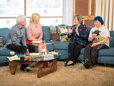 Phillip Schofield and Holly Willoughby with Caroline Quentin and Storm Shayler