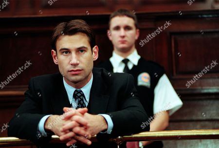 Ep 2470 Tuesday 12th January 1999 Kim and Steve sit in the dock, very much enemies, and both facing possible prison sentences. Kim pleads not guilty to the theft of Orsino, a £300,000 thoroughbred and not guilty to obtaining money by deception from an insurance company. Steve pleads guilty to the two charges but denies he attempted to murder Kathy by driving his vehicle at her. It's only the first day but when Kathy takes the stand and reveals she did see Steve before impact, and that the vehicle was directed at her, Kim looks to have won the first round - With Steve Marchant, as played by Paul Opacic.