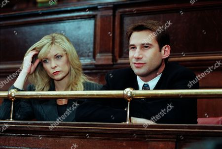 Ep 2470 Tuesday 12th January 1999 Kim and Steve sit in the dock, very much enemies, and both facing possible prison sentences. Kim pleads not guilty to the theft of Orsino, a £300,000 thoroughbred and not guilty to obtaining money by deception from an insurance company. Steve pleads guilty to the two charges but denies he attempted to murder Kathy by driving his vehicle at her. It's only the first day but when Kathy takes the stand and reveals she did see Steve before impact, and that the vehicle was directed at her, Kim looks to have won the first round - With Kim Marchant, as played by Claire King ; Steve Marchant, as played by Paul Opacic.