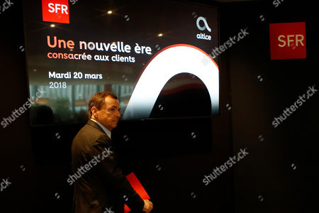 Alain Weill, SFR Group Chairman and CEO of Altice Media arrives at a news conference to present the SFR Altice 2017 results at their headquarters in Paris