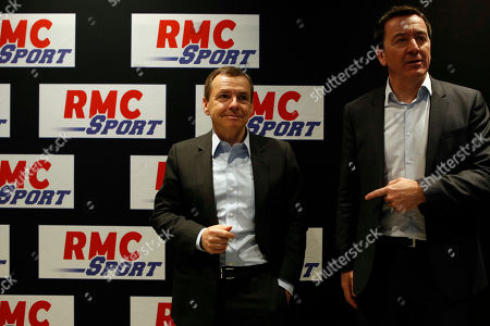 Alain Weill, SFR Group Chairman and CEO of Altice Media, left, poses with Francois Pesenti, General Director of SFR RMC Sport during a news conference to present the SFR Altice 2017 results in Paris