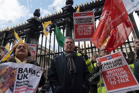 General Secretary of the Public and Commercial Services Union (PCS) Mark Serwotka (C) joined a protest outside British Museum in London to demand protection of jobs and pensions of ex-Carillion staff working in support services at the museum following the company's collapse.