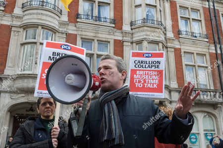 General Secretary of the Public and Commercial Services Union (PCS) Mark Serwotka speaks at a rally outside British Museum in London to demand protection of jobs and pensions of ex-Carillion staff working in support services at the museum following the company's collapse.