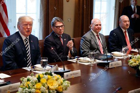 Donald Trump, Rick Perry, H.R. McMaster, Gary Cohn. President Donald Trump speaks during a working lunch with Saudi Crown Prince Mohammed bin Salman in the Cabinet Room of the White House, in Washington. From left, Trump, Energy Secretary Rick Perry, National Security Adviser H.R. McMaster, and outgoing White House chief economic adviser Gary Cohn