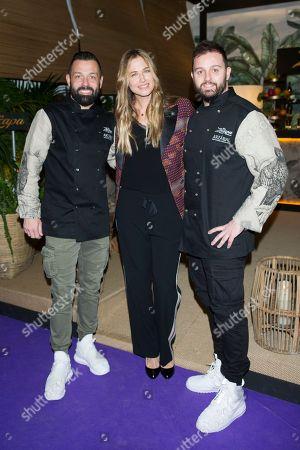 Argentine model Martina Klein ; Ivan Morales and Alvaro Castellanos (Arzabal restaurant)