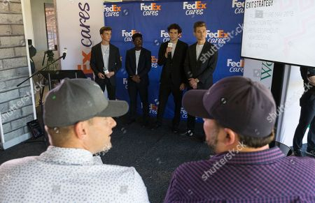 IMAGE DISTRIBUTED FOR FEDEX - ONZ from JA of Central Texas presents to panel judges Andy Roddick, 2003 U.S. Open tennis champion and former ATP World No. 1 ranked singles player, and Brandon Barrett, president of William Murray Golf, on original business concepts at the FedEx Junior Business Challenge at the WGC-Dell Technologies Match Play, in Austin, Texas. Students pitched business ideas for the opportunity to advance to the finals at the TOUR Championship where one group will secure a $75,000 donation from FedEx to their local JA chapter