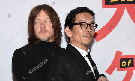"Norman Reedus, Kunichi Nomura. Norman Reedus, left, and Kunichi Nomura attend a special screening of ""Isle of Dogs"" at the Metropolitan Museum of Art, in New York"