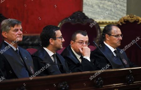 (L-R) Attorney's of the defendants Jose Zaforteza for Jaume Matas; Manuel Gonzalez for Diego Torres; and Mario Pascual for former Duque of Palma Inaki Urdangarin attend the hearing on the judicial appeals presented by defendants at the Supreme Court in Madrid, Spain, 21 March 2018. Husband of Spanish Princess Cristina and former Duque of Palma, Inaki Urdangarin, was sentenced to six years and three months imprisonment accused of embezzling over six million euros in public funds through a charity, the Noos Institute, which he ran from 2004 to 2006. According to the General Attorney, Angeles Garrido, former Duque of Palma and his colleague Diego Torres were the instigators of the corruption between officials in Valencia and Balearic Islands. General Attorney has demanded judges to rise Urdangarin's sentence to 10 years of imprisonment as he and Torres were the 'engines' of the corruption plot.