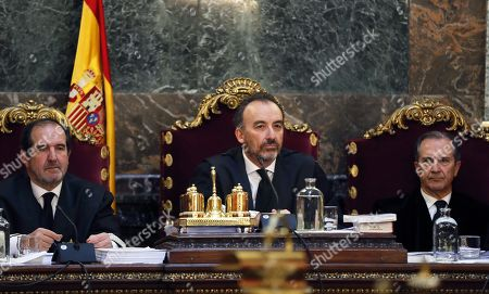 (L-R) Judges from the Spanish Supreme Court in charge of the Noos Case Andres Martinez Arrieta, Manuel Marchena and Miguel Colmenero attend the hearing on the judicial appeals presented by defendants in the Noos Case at the Supreme Court in Madrid, Spain, 21 March 2018. Husband of Spanish Princess Cristina and former Duque of Palma, Inaki Urdangarin, was sentenced to six years and three months imprisonment accused of embezzling over six million euros in public funds through a charity, the Noos Institute, which he ran from 2004 to 2006. According to the General Attorney, Angeles Garrido, former Duque of Palma and his colleague Diego Torres were the instigators of the corruption between officials in Valencia and Balearic Islands. General Attorney has demanded judges to rise Urdangarin's sentence to 10 years of imprisonment as he and Torres were the 'engines' of the corruption plot.