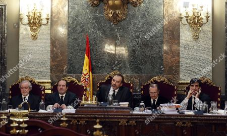 (L-R) Judges from the Spanish Supreme Court in charge of the Noos Case Juan Ramon Berdugo, Andres Martinez Arrieta, Manuel Marchena, Miguel Colmenero and Antonio del Moral attend the hearing on the judicial appeals presented by defendants in the Noos Case at the Supreme Court in Madrid, Spain, 21 March 2018. Husband of Spanish Princess Cristina and former Duque of Palma, Inaki Urdangarin, was sentenced to six years and three months imprisonment accused of embezzling over six million euros in public funds through a charity, the Noos Institute, which he ran from 2004 to 2006. According to the General Attorney, Angeles Garrido, former Duque of Palma and his colleague Diego Torres were the instigators of the corruption between officials in Valencia and Balearic Islands. General Attorney has demanded judges to rise Urdangarin's sentence to 10 years of imprisonment as he and Torres were the 'engines' of the corruption plot.