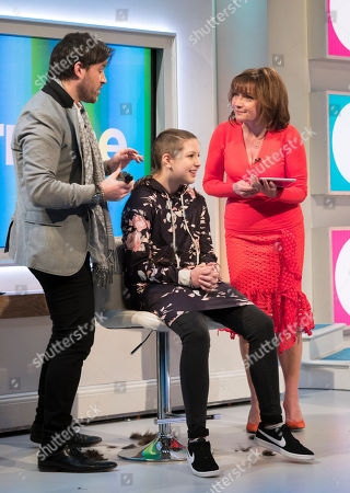 Stock Picture of Lorraine Kelly, Ruby Allen-Denton and Leo Bancroft