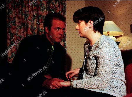 Ep 2485 Tuesday 16th February 1999 Chris Tate proves he can be just as manipulative in love as he can in business. After still working on trying to get back with Kathy, he tells her that he's got a date with Laura, a move calculated to make her jealous. When he arrives for a drink with Laura he says it's her he really wants to be with. He hadn't realised how strong his feelings for her were. The couple fall into an embrace - With Chris Tate, as played by Peter Amory ; Laura Johnstone, as played by Louise Beattie.