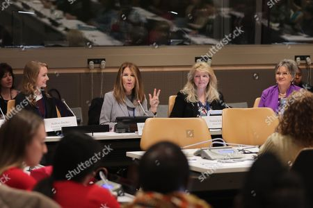 Stock Image of Former Congresswoman Michele Bachmann and the Executive Director of Skyline During the CSW62 Meetings today at the UN Headquarters in New York.