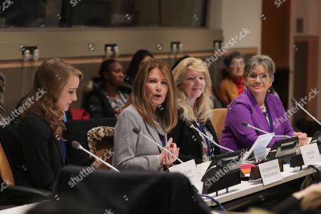 Former Congresswoman Michele Bachmann and the Executive Director of Skyline During the CSW62 Meetings today at the UN Headquarters in New York.