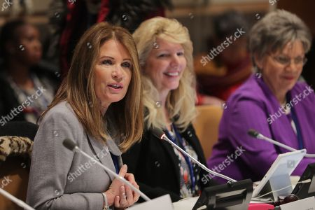 Stock Photo of Former Congresswoman Michele Bachmann and the Executive Director of Skyline During the CSW62 Meetings today at the UN Headquarters in New York.
