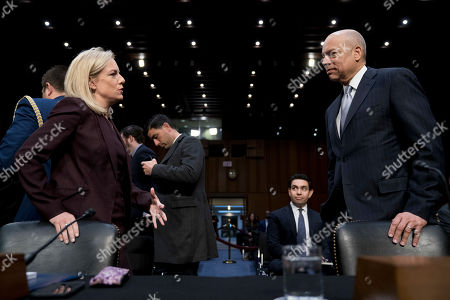 Kirstjen Nielsen, Jeh Johnson. Homeland Security Secretary Kirstjen Nielsen, left, and former Homeland Security Secretary Jeh Johnson, right, speak before a Senate Intelligence Committee hearing on election security on Capitol Hill in Washington