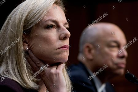 Kirstjen Nielsen, Jeh Johnson. Homeland Security Secretary Kirstjen Nielsen, left, and former Homeland Security Secretary Jeh Johnson, right, appear at a Senate Intelligence Committee hearing on election security on Capitol Hill in Washington