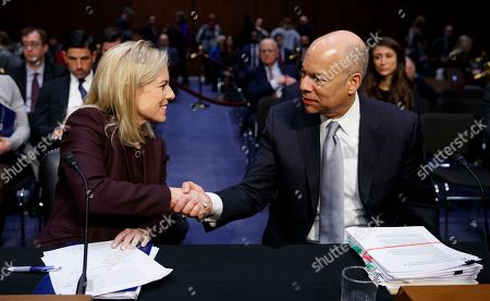 Kirstjen Nielsen, Jeh Johnson. Homeland Security Secretary Kirstjen Nielsen, left, and former Homeland Security Secretary Jeh Johnson, right, shake hands at the conclusion of a Senate Intelligence Committee hearing on election security on Capitol Hill in Washington