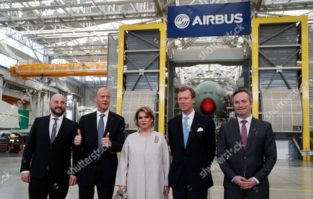 (L-R) Deputy prime minister of Luxembourg Etienne Schneider, Airbus Chief Executive Tom Enders, Grand Duchess Maria-Teresa of Luxembourg, Grand Duke Henri of Luxembourg and French Junior Minister in charge of European affairs Jean-Baptiste Lemoyne, visit at the Airbus A380 factory, in Blagnac, southern France, 21 March 2018.