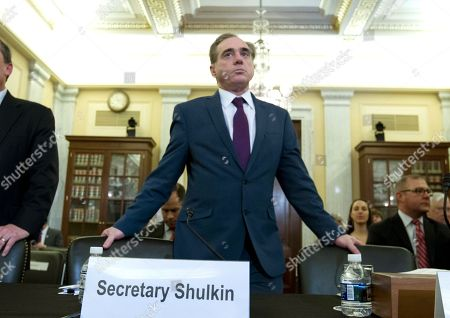 Veterans Affairs Secretary David Shulkin arrives to testify on veterans programs before the Senate Committee on Veterans Affairs at Capitol Hill, in Washington