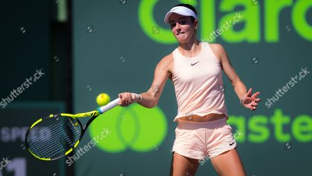 Catherine Bellis of the United States in action at the 2018 Miami Open WTA Premier Mandatory tennis tournament