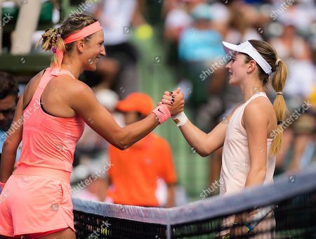 Stock Image of Victoria Azarenka of Belarus & Catherine Bellis of the United States at the 2018 Miami Open WTA Premier Mandatory tennis tournament