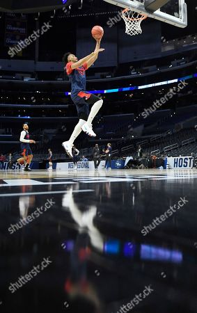 Gonzaga forward Johnathan Williams shoots during practice at the NCAA men's college basketball tournament, in Los Angeles. Gonzaga faces Florida State in a regional semifinal on Thursday