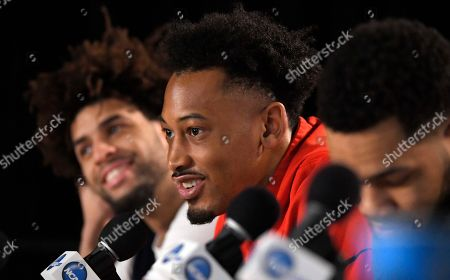 Josh Perkins, Silas Melson, Johnathan Williams. Gonzaga guards Josh Perkins, left, and Silas Melson, right, listen as forward Johnathan Williams speaks during a news conference for the NCAA men's college basketball tournament, in Los Angeles. Gonzaga faces Florida State in a regional semifinal Thursday