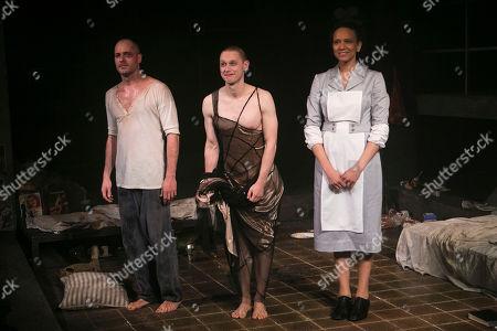 Stock Photo of Declan Bennett (Valentin), Samuel Barnett (Molina) and Grace Cookey-Gam (Warden) during the curtain call