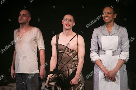 Stock Image of Declan Bennett (Valentin), Samuel Barnett (Molina) and Grace Cookey-Gam (Warden) during the curtain call