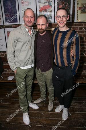 Declan Bennett (Valentin), Laurie Sansom (Director) and Samuel Barnett (Molina)