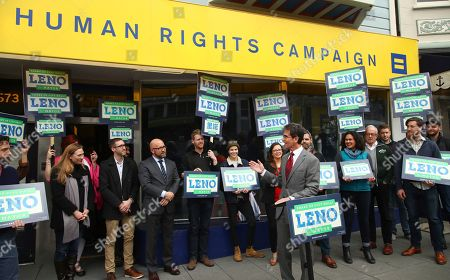On, San Francisco Mayoral candidate Mark Leno, center right, gestures while speaking to supporters in San Francisco