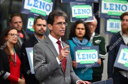 On, San Francisco Mayoral candidate Mark Leno gestures while speaking to supporters in San Francisco
