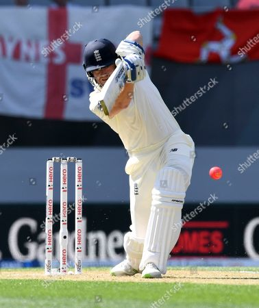 England's Jonathan Bairstow plays to be caught out for 0 by New Zealand's Tim Southee during their first cricket test in Auckland, New Zealand