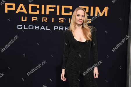"""Writer Emily Carmichael arrives at the global premiere of """"Pacific Rim Uprising"""" at the TCL Chinese Theatre, in Los Angeles"""