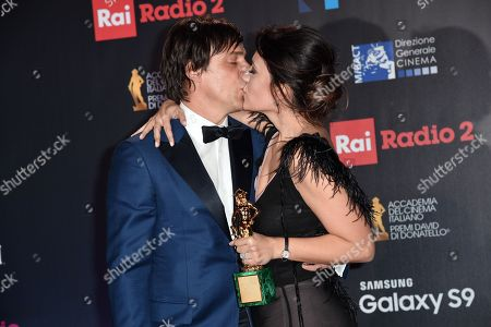 Serena Rossi, Interpreter of Best Original Song, with husband Davide Devenuto