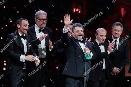 Stock Image of Directors Manetti Bros Marco and Antonio Manetti, Carlo Conti