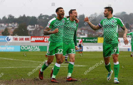 Kaiyne Woolery of Swindon Town celebrates scoring a goal with Matthew Taylor of Swindon Town