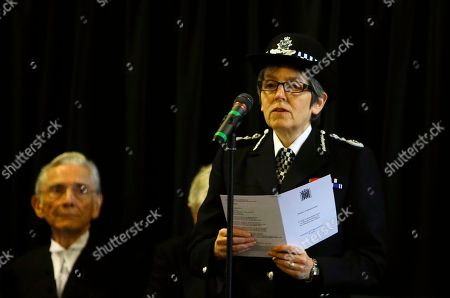 Cressida Dick The Metropolitan Police Commissioner reads the poem 'Time' by Henry Van Dyke, watched by The Lord Speaker Lord Fowler during a commemoration for the victims of the attack on Westminster and Parliament, at Westminster Hall inside the Palace of Westminster in London, . On March 22 2017 a knife-wielding man went on a deadly rampage, first driving a car into pedestrians then stabbing a police officer to death before being fatally shot by police within Parliament's grounds