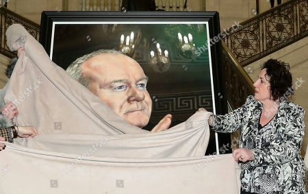 Bernie McGuinness, widow of the former deputy First Minister, Martin McGuinness unveiling his portrait at Parliament Buildings.