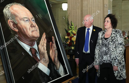 Stock Photo of The Speaker of the Northern Ireland Assembly, Robin Newton MLA, today unveiled a portrait of the former deputy First Minister, Martin McGuinness. The Speaker was joined by Bernie the widow of Mr McGuinness.