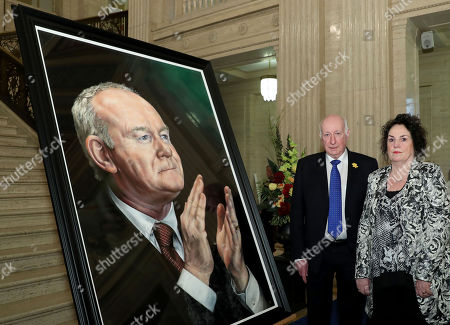 The Speaker of the Northern Ireland Assembly, Robin Newton MLA, today unveiled a portrait of the former deputy First Minister, Martin McGuinness. The Speaker was joined by Bernie the widow of Mr McGuinness.