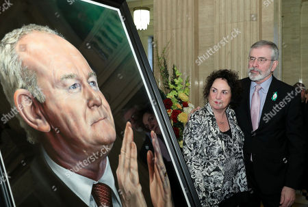 Gerry Adams with Bernie McGuinness at the unveiling of the portrait of the former deputy First Minister, Martin McGuinness.