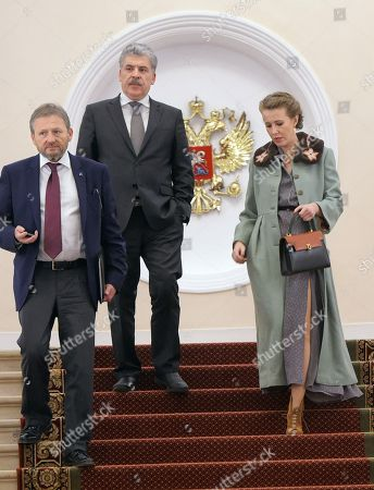 From the 'Party of Growth' Boris Titov, from the Communist Party and the 'People's patriotic forces of Russia', director of the Lenin State Farm Pavel Grudinin, from the 'Civic Initiative' party Ksenia Sobchak
