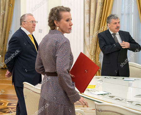 Presidential candidates from the LDPR party Vladimir Zhirinovsky, from the 'Civic Initiative' party Ksenia Sobchak, from the Communist Party and the 'People's patriotic forces of Russia', director of the Lenin State Farm Pavel Grudinin during the meeting.